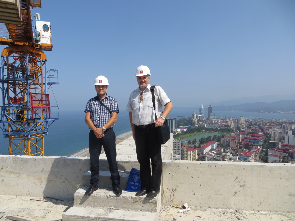 Certified engineers of LIRA SAPR company at the construction site