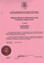 Certificate of Trademark Ownership LIRA (Lithuania)