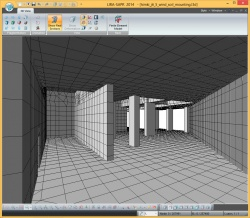 View of the building from the inside in 3D mode